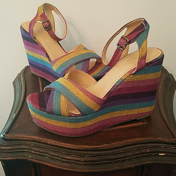 4fc547f89fedd Very Volatile Shoes | Awesome Multi Color Striped Platform Wedges ...
